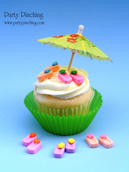 Pez flip flops on a beach themed cupcake from Party Pinching