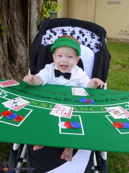 cute baby Halloween costume with stroller, blackjack dealer costume, casino costume, cute kids children costume ideas for Halloween, adorable baby costumes for Halloween party