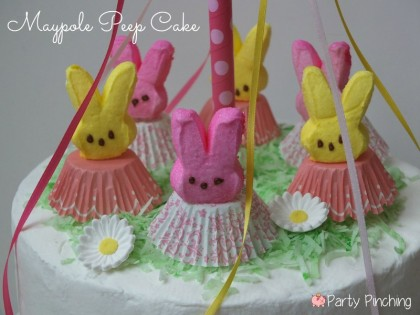 Adorable Maypole Cake Using Cute Peep Bunnies For May Day
