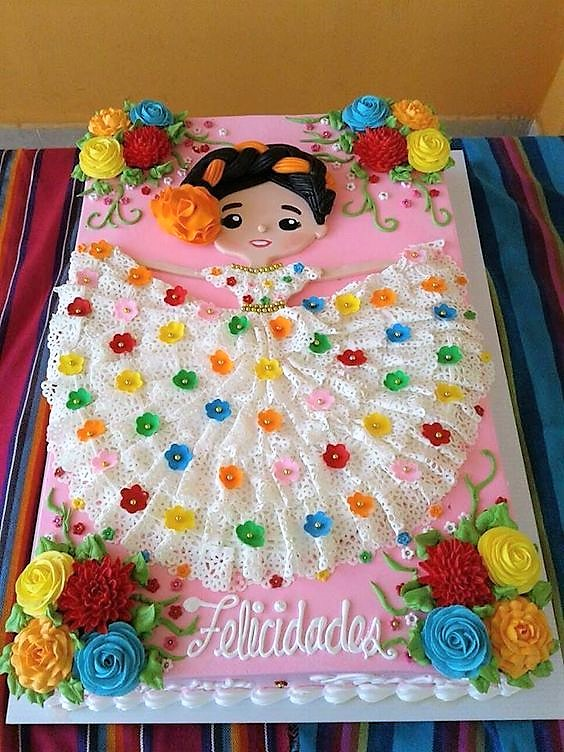 beautiful Mexican girl cake gorgeous lace dress colorful perfect for birthday Cinco de Mayo fiesta theme party