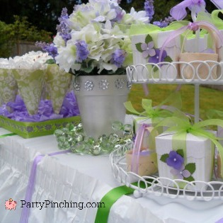 Bridal shower ideas, bridal shower luncheon, lilac purple white green bridal shower, wedding shower ideas, DIY bridal shower wedding ideas