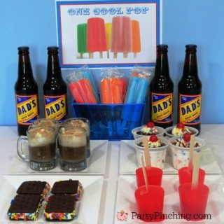 Father's Day dessert ideas, easy Father's day cupcakes, golf cupcakes, golf theme party, Father's day golf party, Father's day cupcake root beer cookies ice cream, one cool Pop for Father's Day, Father's day shirt rice krispie treat cookie cake, super dad Father's Day