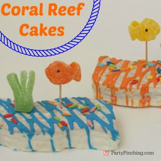 summer beach theme cake, coral reef cakes Little Debbie, gumdrop fish, cute food, fun food for kids, beach snack dessert party theme, fun toddler snack