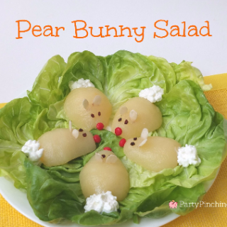 Pear Bunny Salad, fun food for kids, Easter salad, Easter brunch ideas, cute food for Easter, fun food for kids