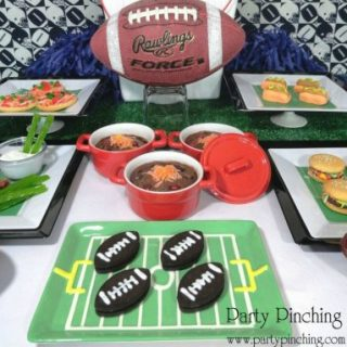 Super Bowl party, fun and easy Super Bowl football party food ideas, super bowl football recipes, Super Bowl party snacks food ideas, fun food, sweet treats, football food, football snacks, Super Bowl chicken wing dessert rice krispie treats