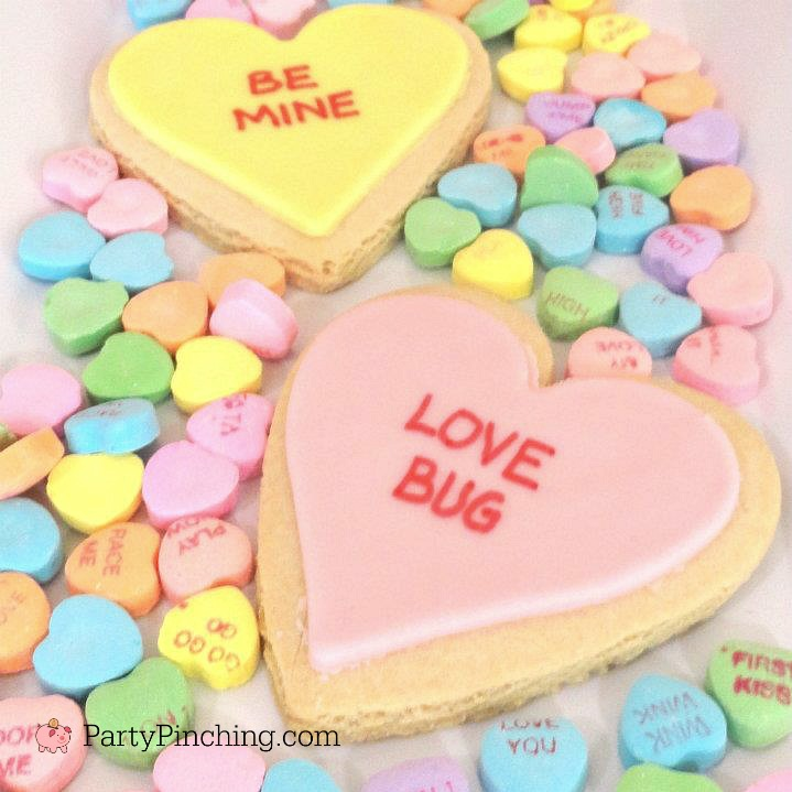 Valentine's Day heart sweetheart conversation candy cupcakes tutorial easy DIY recipe for kids fun edible craft love bug cookies classroom class parties, Valentine's Day sweetheart cookies, Valentine's Day heart cookies