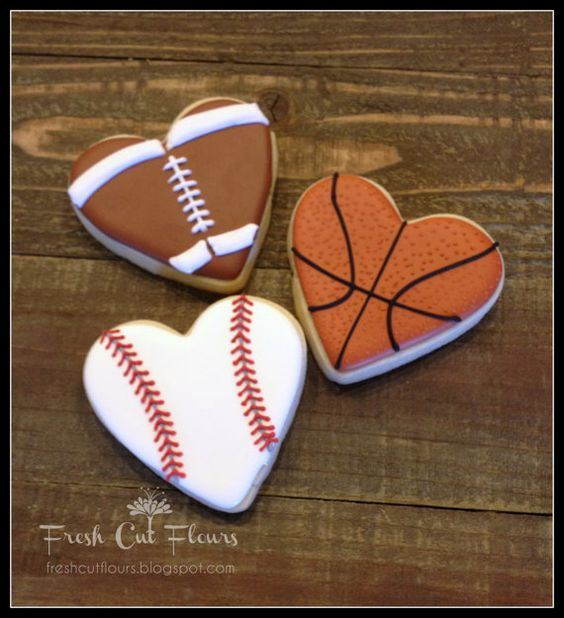 Sports heart cookies, basketball heart cookie, football heart cookies, baseball heart cookie, cute Valentine's Day dessert ideas for men boyfriend guys