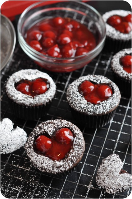 Cherry Cordial heart chocolate cupcakes for Valentine's Day, easy Valentine's day dessert ideas recipes
