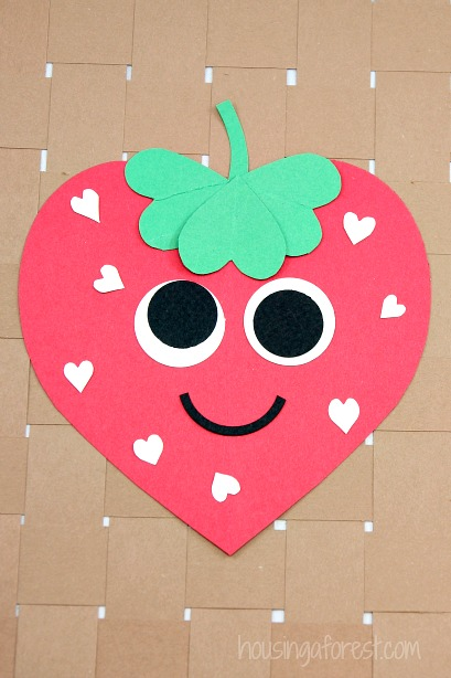 Valentine strawberry cute craft for kids toddlers easy paper heart craft ideas