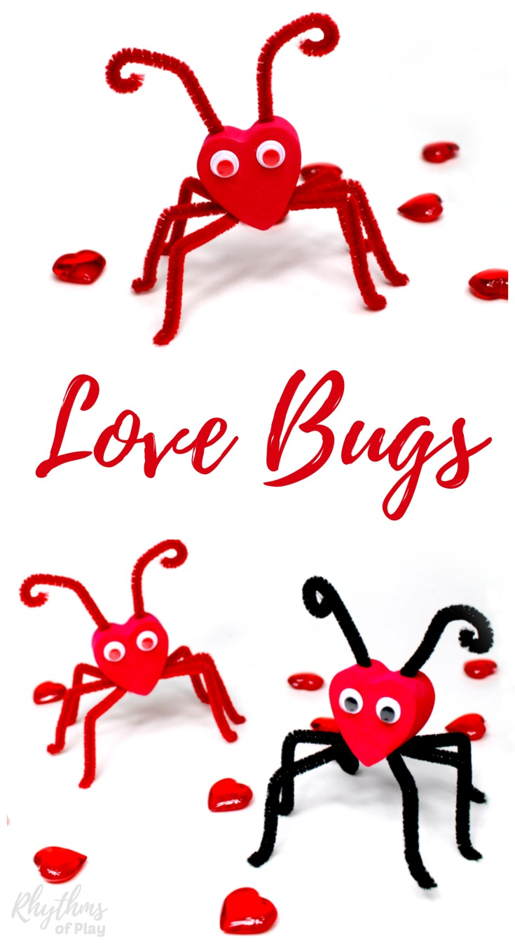 Adorable cute love bug craft for Valentine's Day, kids craft fun idea for class party