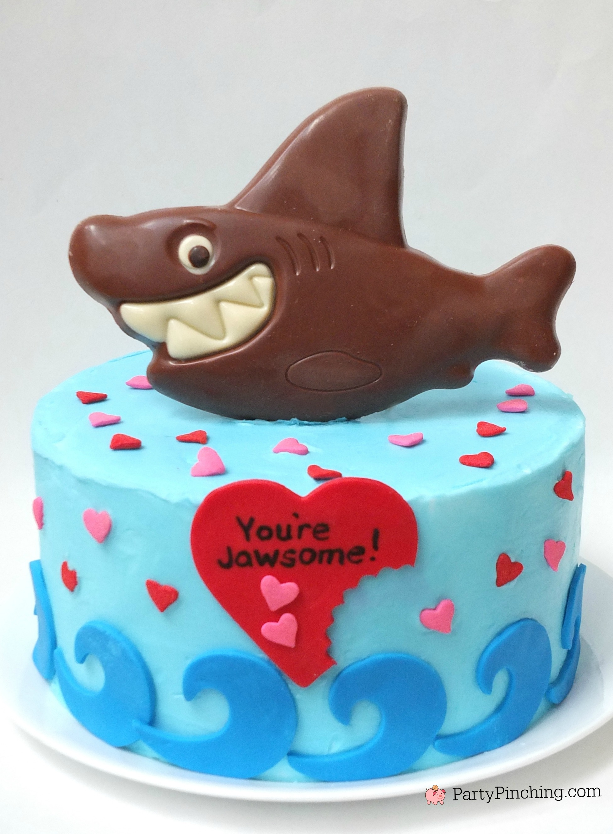 shark cake, you're jawsome Valentine's Day cake, RM Palmer shark chocolate, shark tank, shark party theme, beach cake, cute shark cake ideas, shark week dessert party ideas