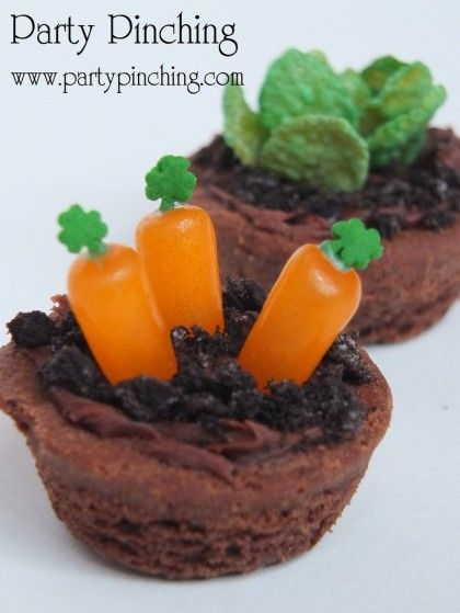 Best Easter food and craft ideas, mini brownie garden carrots lettuce