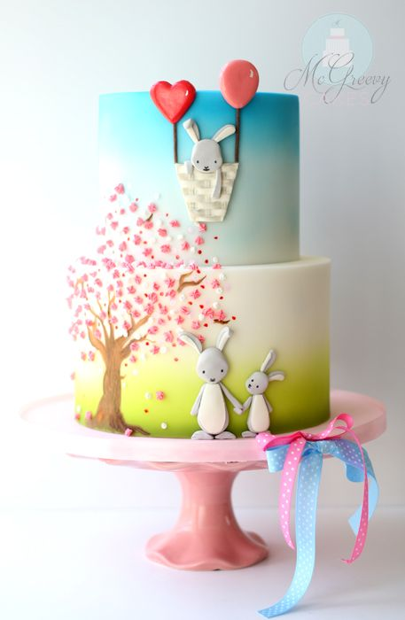 Best Easter food and craft ideas, cute adorable bunny balloon basket cake