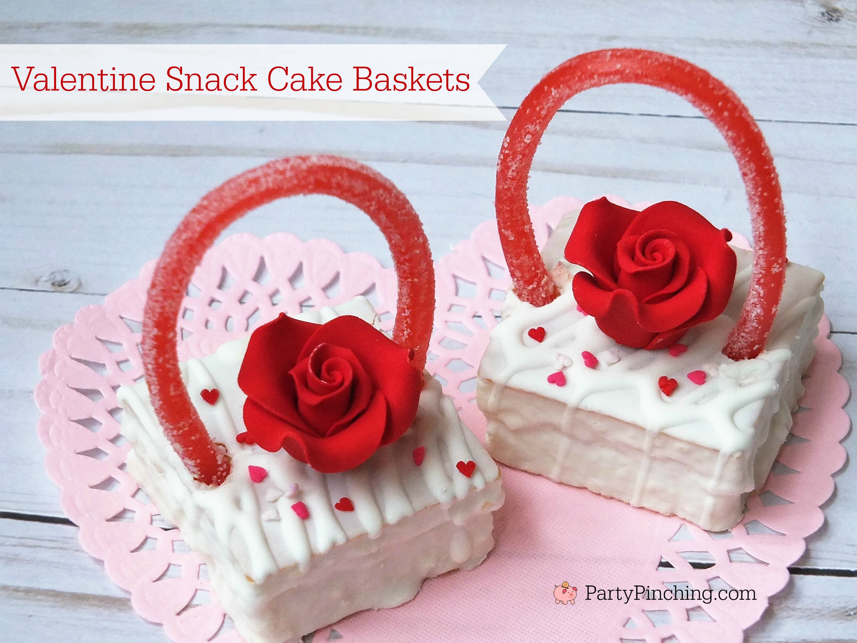Easy Valentine's Day dessert ideas, Valentine snack cake baskets, cute food, fun food for kids, Valentine's Day party classroom idea treats, Little Debbie Fancy Cakes, adorable pretty Valentine's Day dessert ideas