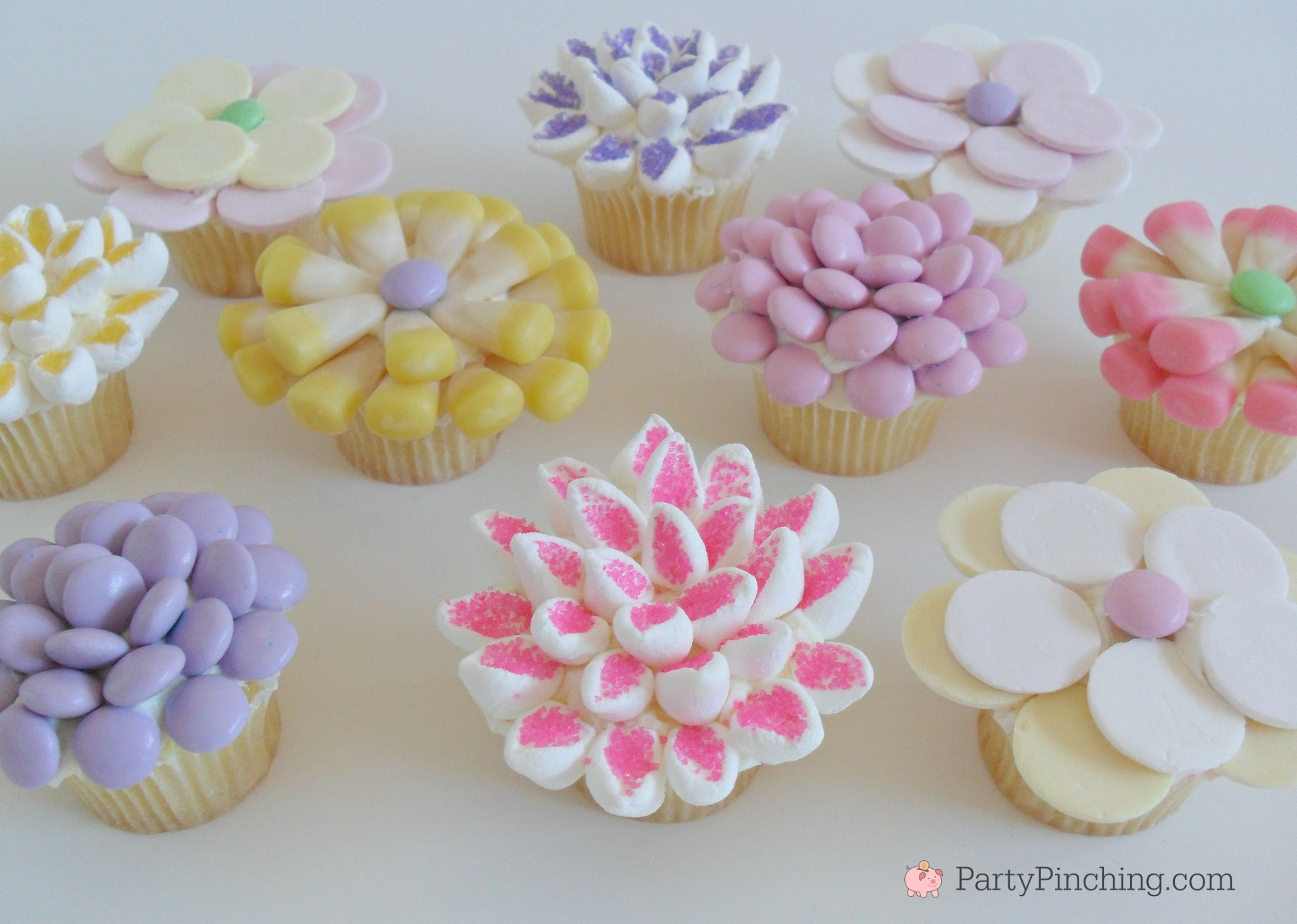 Spring flower cupcakes easy mini cupcakes for Easter candy decorated cupcakes Mu0026M marshmallow  sc 1 st  Party Pinching : easy spring cupcake decorating ideas - www.pureclipart.com