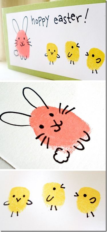 Best Easter food and craft ideas, bunny chick thumbprint fingerprint craft