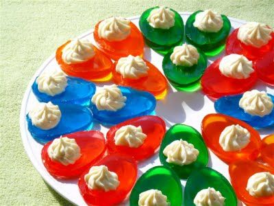Best Easter food and craft ideas, Jello deviled eggs cute dessert for Easter brunch