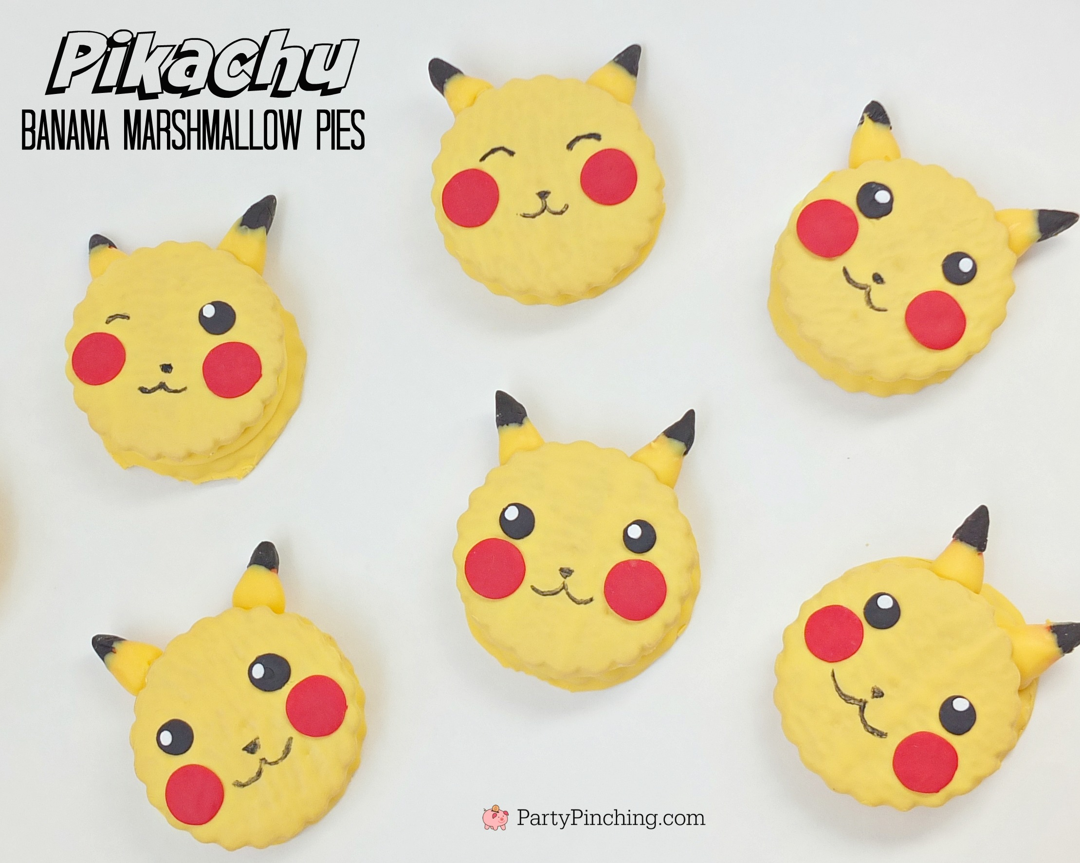 Pikachu banana marshmallow pies, Little Debbie Banana Marshmallow Pies, Pokemon dessert food party ideas, cute Pikachu dessert treat snack cake, easy recipe Pokemon theme, kid friendly food, fun food for kids, cute food, sweet treats