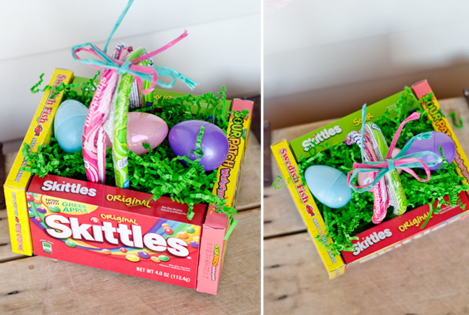Best Easter food and craft ideas, candy movie box skittles DIY Easter basket