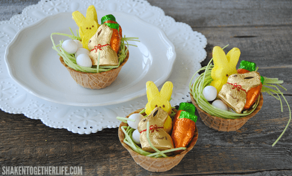 Best food and craft ideas for easter party pinching best easter food and craft ideas waffle bowl easter basket edible easter basket negle Images
