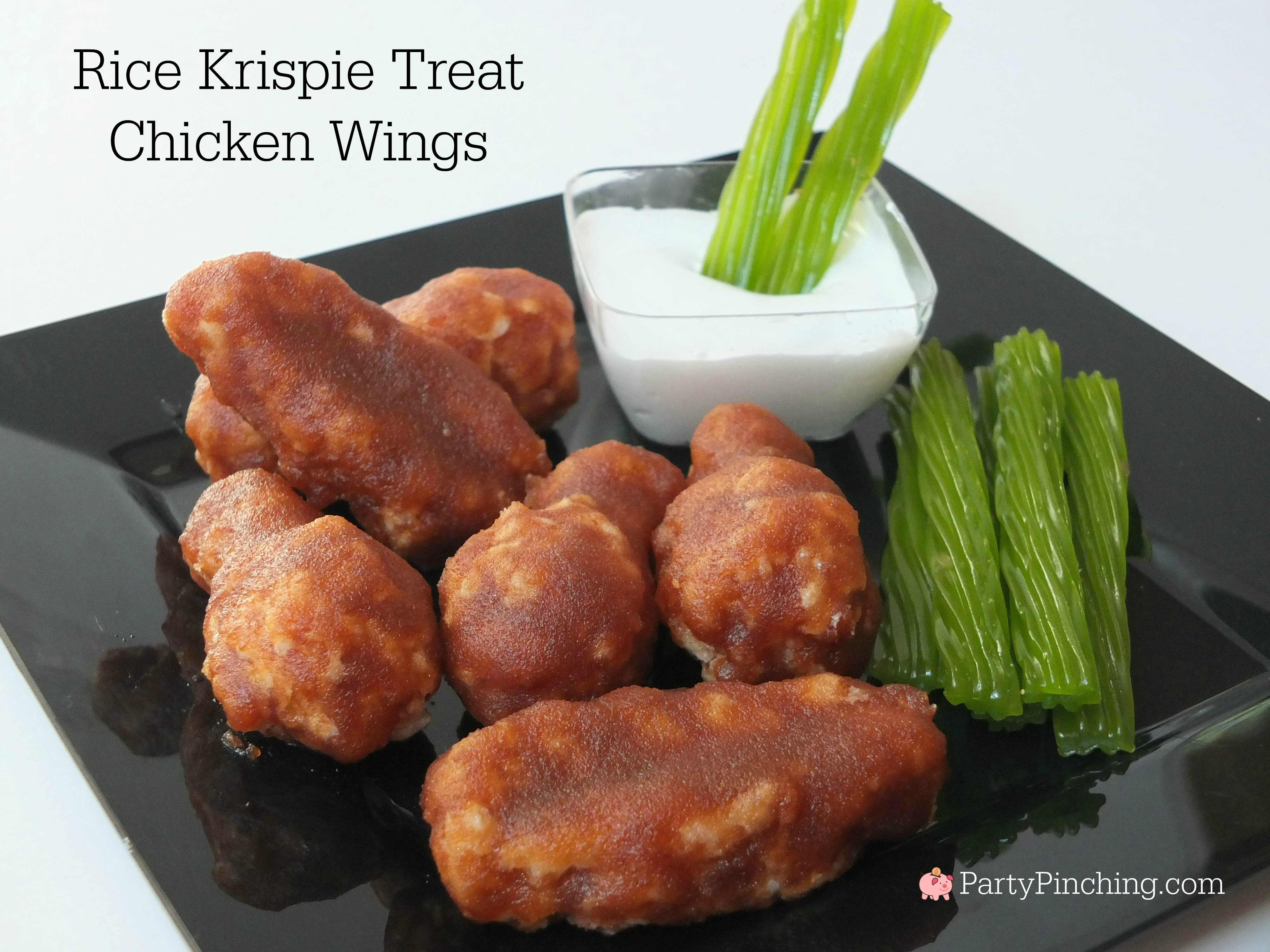 Best April Fools' Day Food Pranks Buffalo Wings Rice Krispie Treat Chicken Wings with celery licorice