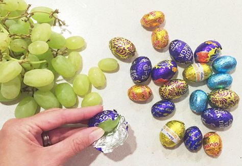 April Fools' day food pranks grapes in chocolate egg wrappers