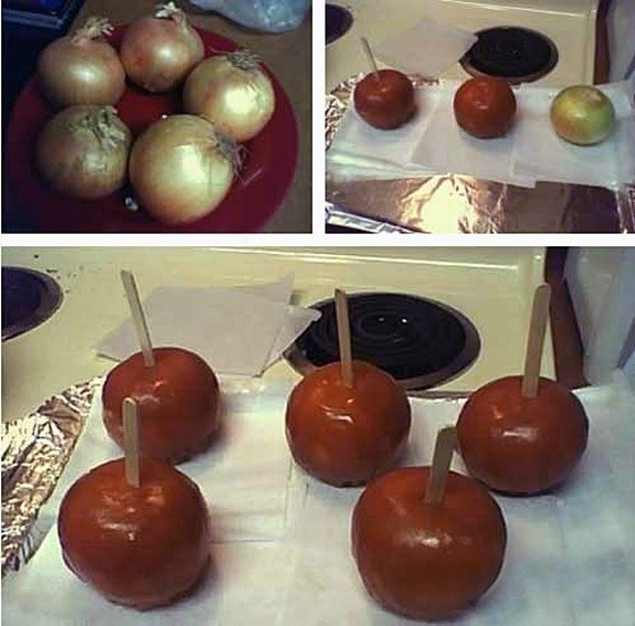 April Fools' Day food pranks caramel apple onion joke