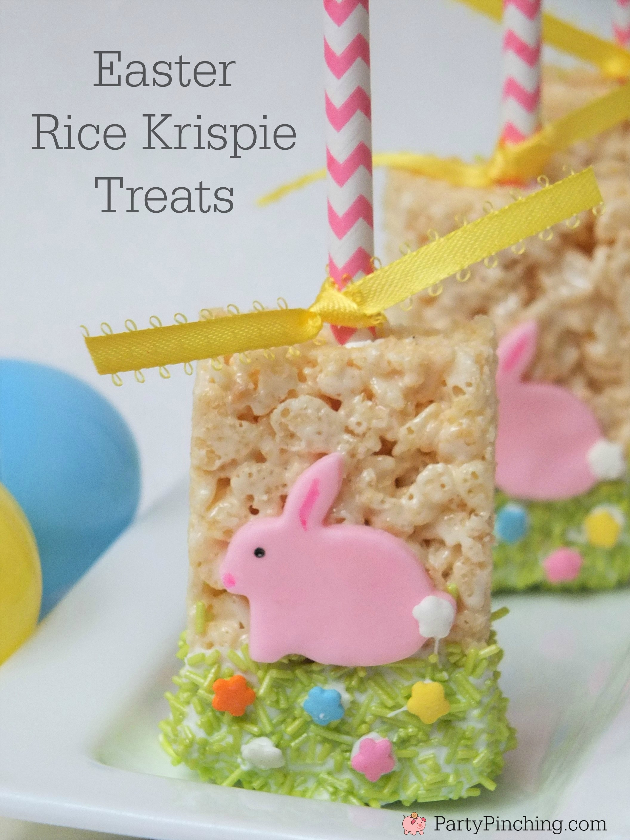 Easy easter rice krispie treat pops for kids fun dessert ideas for easter rice krispie treats cute easy bunny dessert idea for easter fun food for ccuart Choice Image