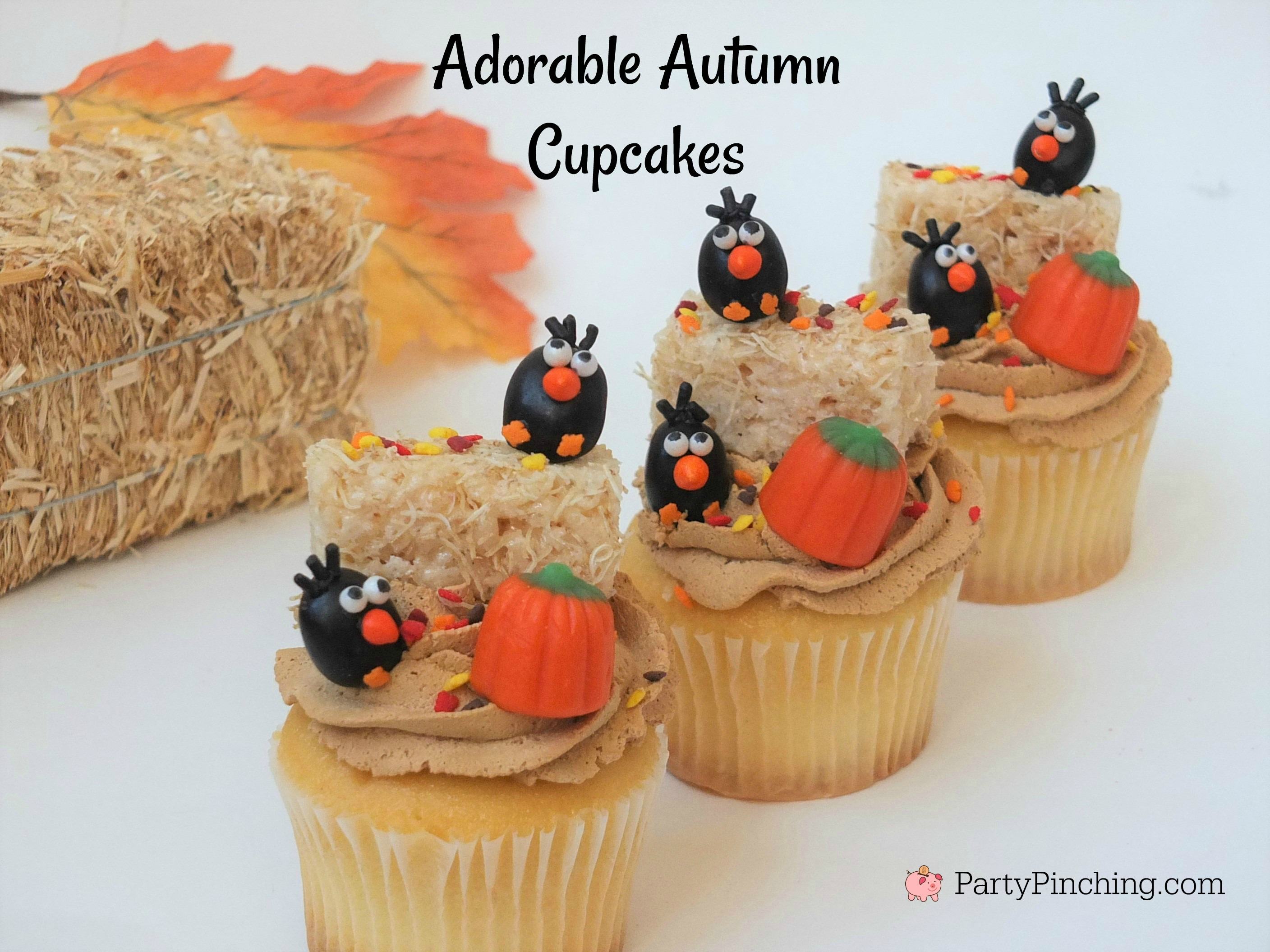 crow cupcakes, adorable autumn fall cupcakes, jelly bean crows, cute food, fun food for kids, hay bale cupcakes rice krispie haybales with leaf sprinkles, ask for whipped, caramel whipped icing frosting