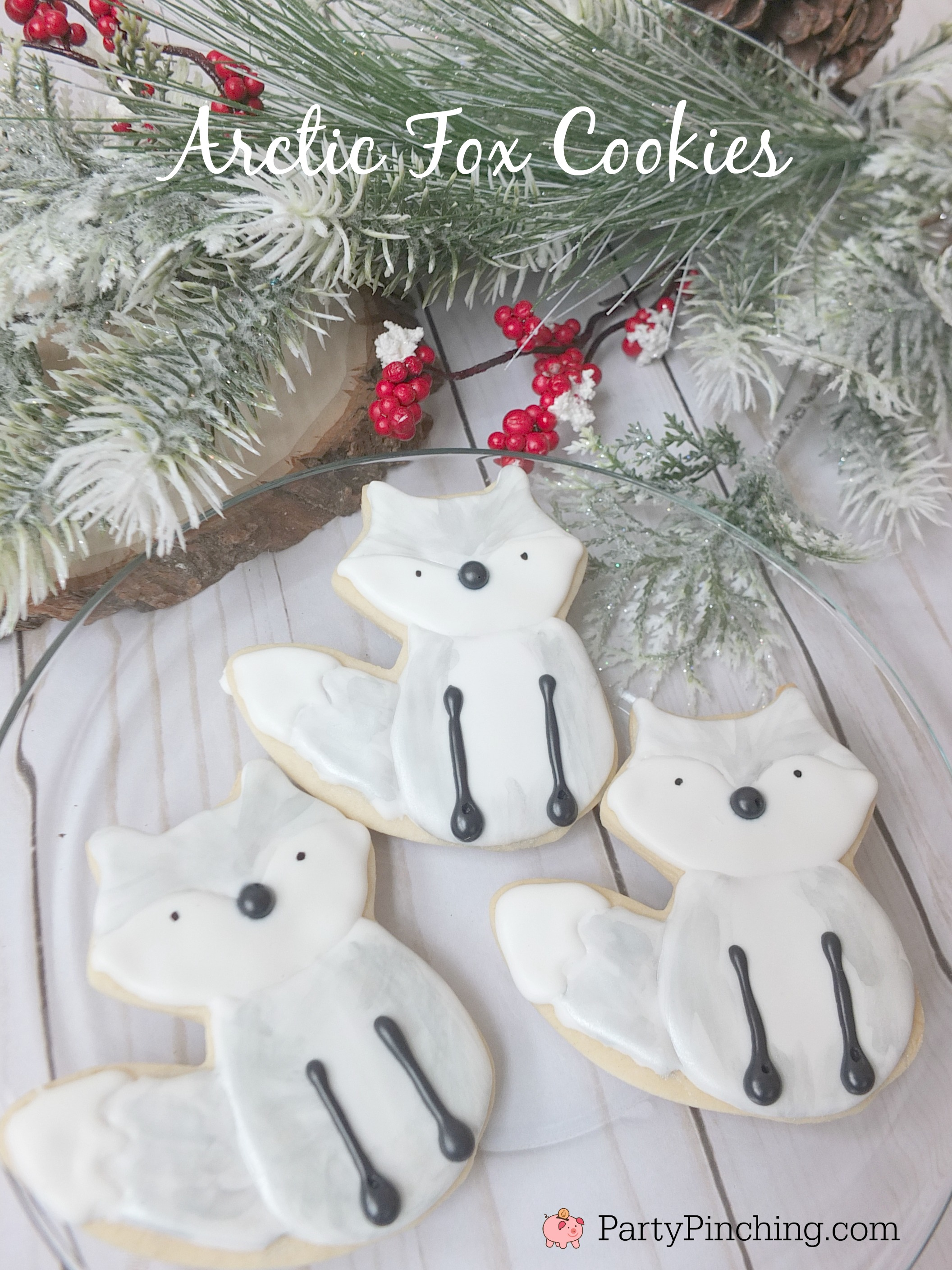 arctic fox cookies, white fox cookies, white winter woodland creature party ideas, cute food, fun food for kids, winter cookies, winter food ideas, snowy cookies, silver fox cookies