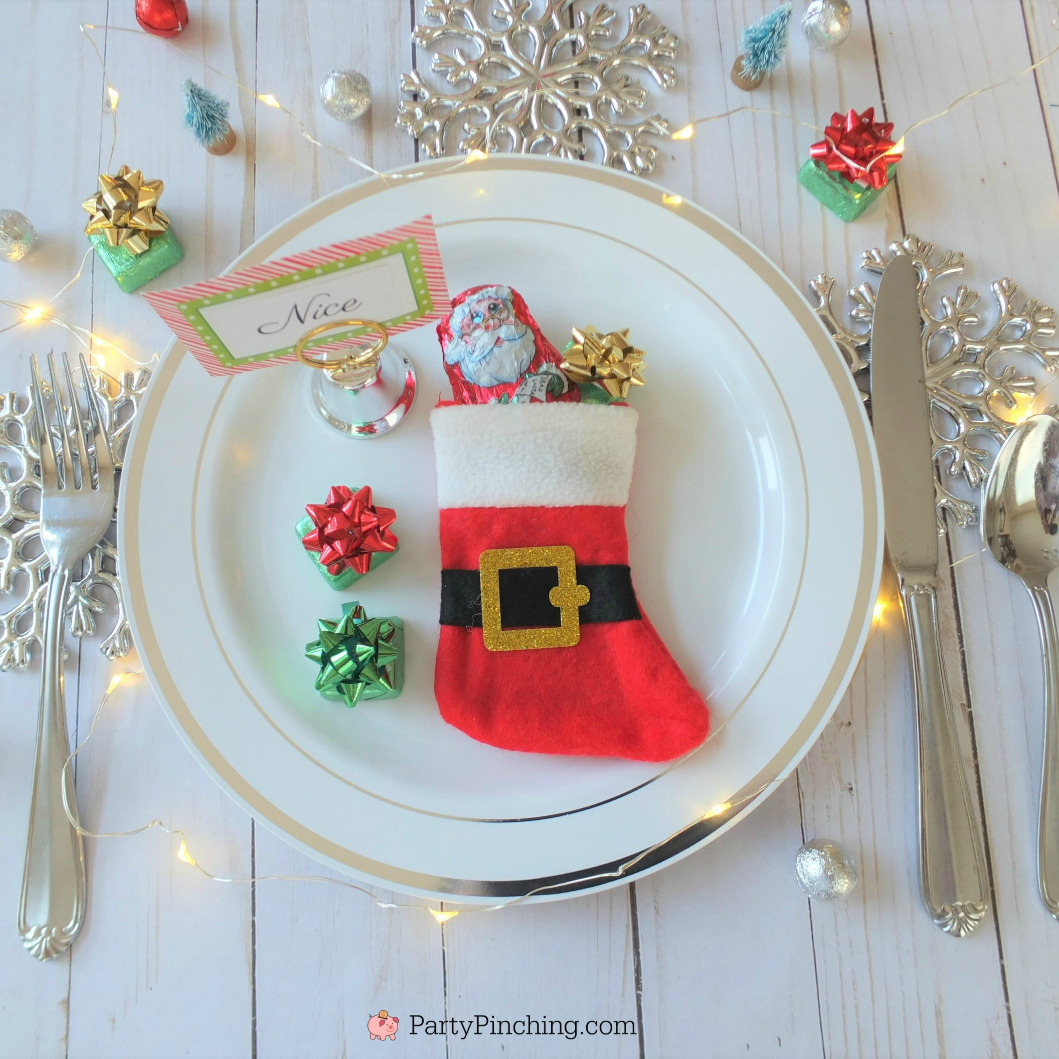 naughty and nice ideas for Christmas stockings, Christmas table setting ideas, cute Christmas dinner table ideas for the kids and family, lumps of coal candy, cute stocking stuffer ideas