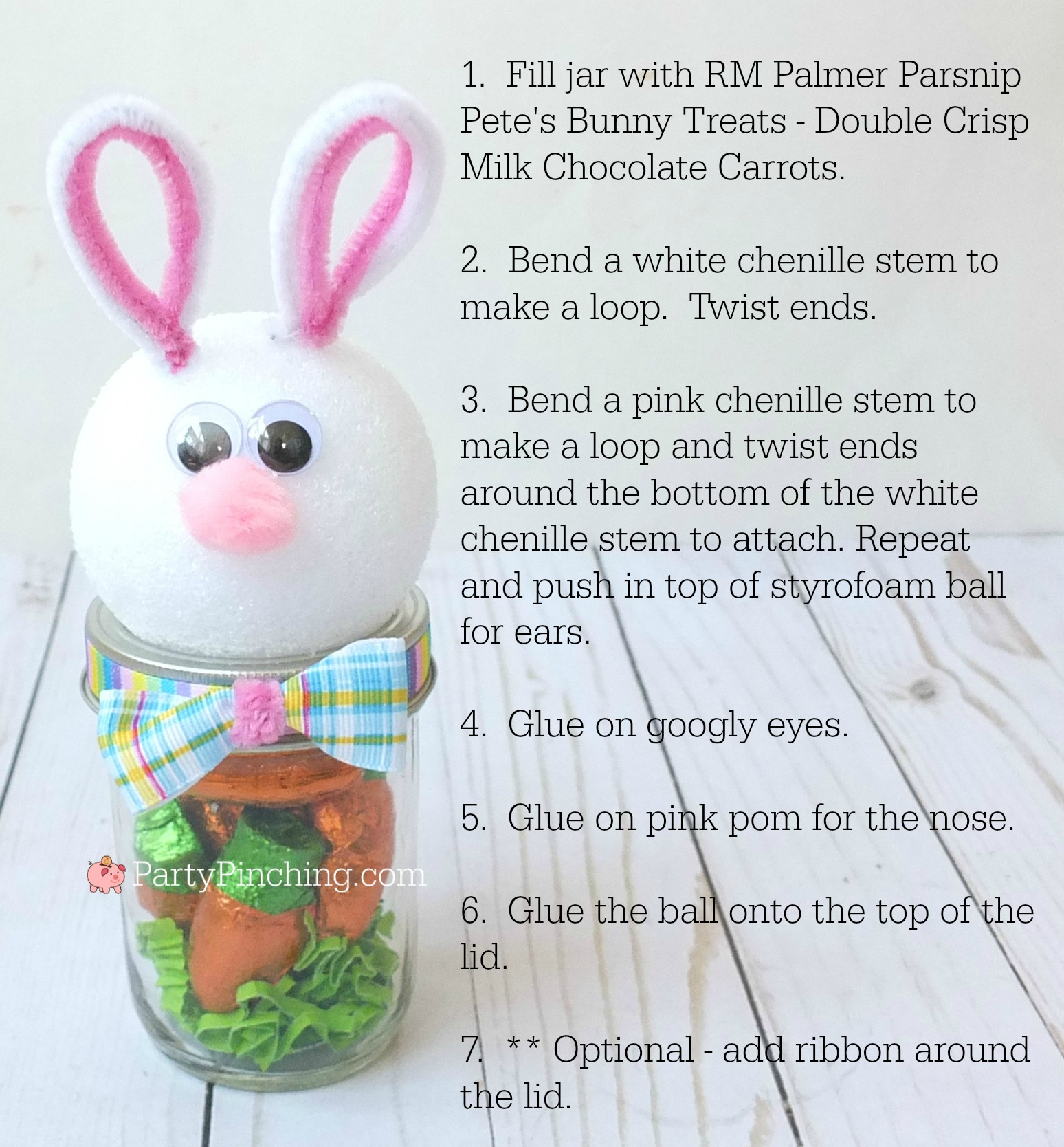 Easter Bunny candy mason jar craft, Cute Easter jar craft animals bunny chick lamb, fun and easy Easter craft for kids, Easter candy favor, RM Palmer candy