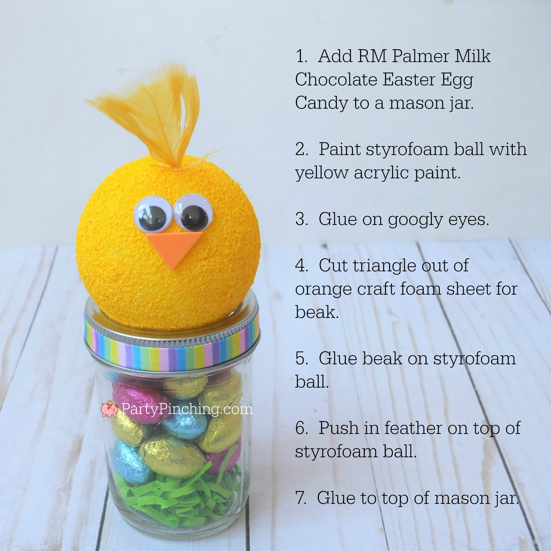 Chick Easter candy mason jar craft, Cute Easter jar craft animals bunny chick lamb, fun and easy Easter craft for kids, Easter candy favor, RM Palmer candy