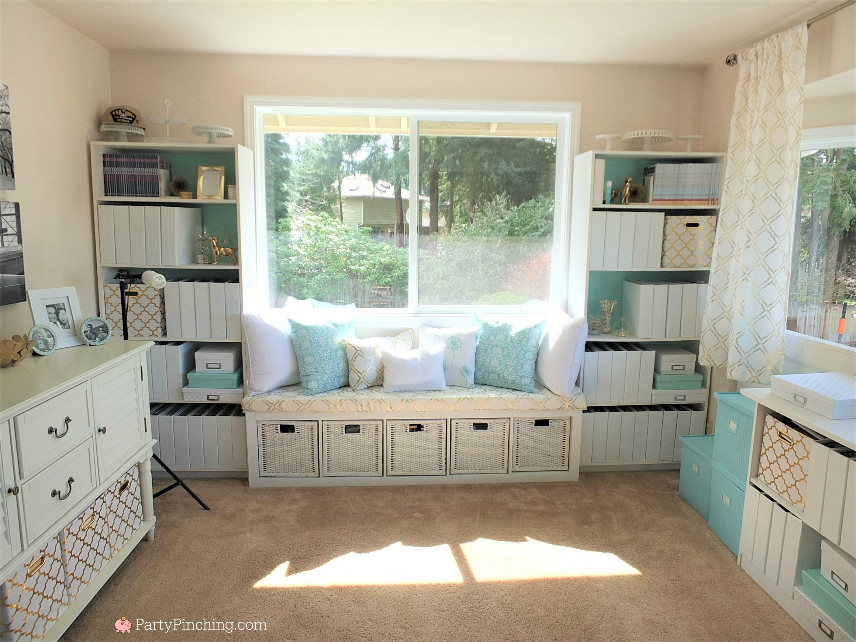 Tiffany blue home office makeover, Tiffany blue office interior design, pretty home office on a budget, beautiful home office, office with Tiffany blue gold and white accents, white office chair, feminine home office, home office with window seat, DIY easy window seat