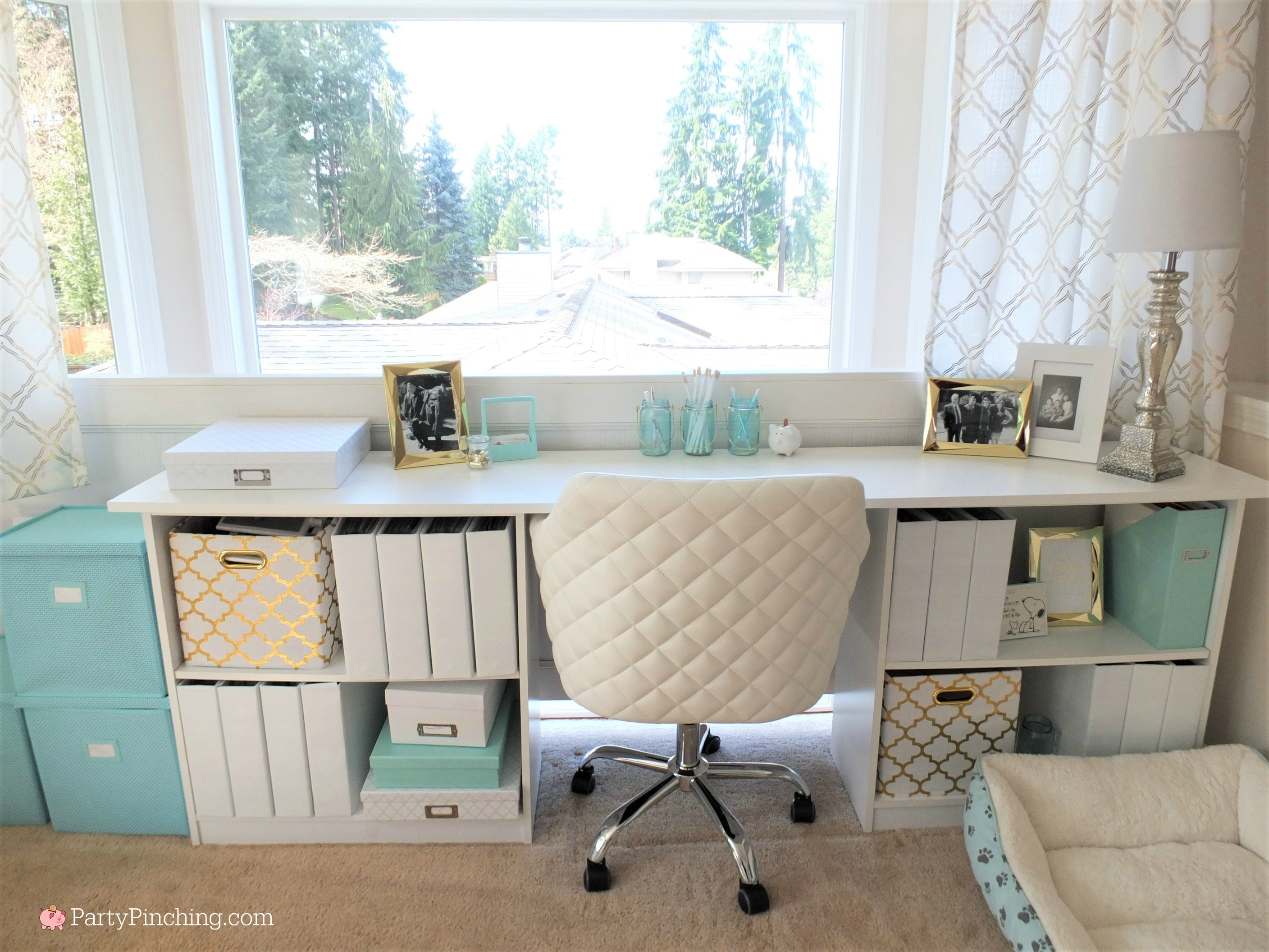 Tiffany Blue Home Office Makeover, gold accents, pretty office on a ...