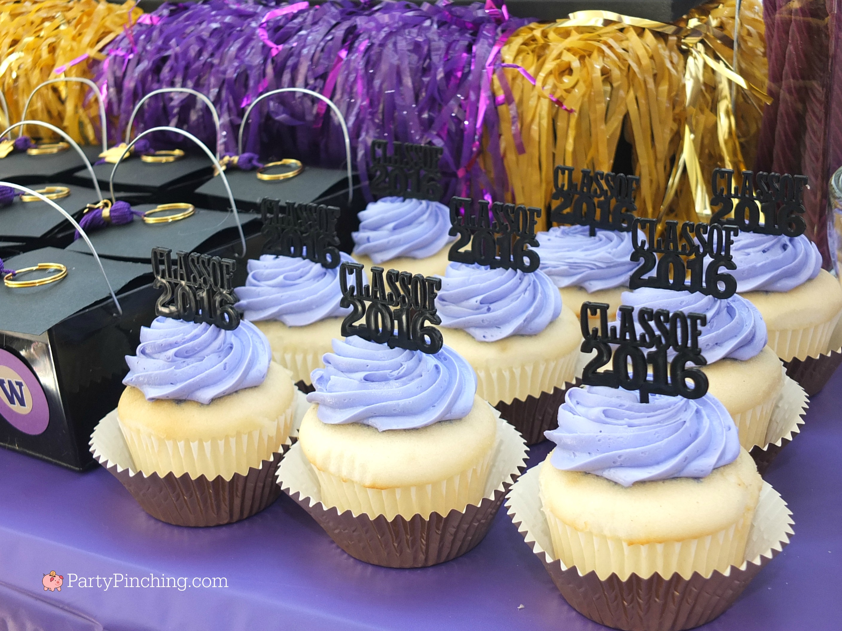 college graduation party, college graduation dessert table, college grad candy buffet, purple and gold candy buffet, University of Washington, UW Huskies, UDub