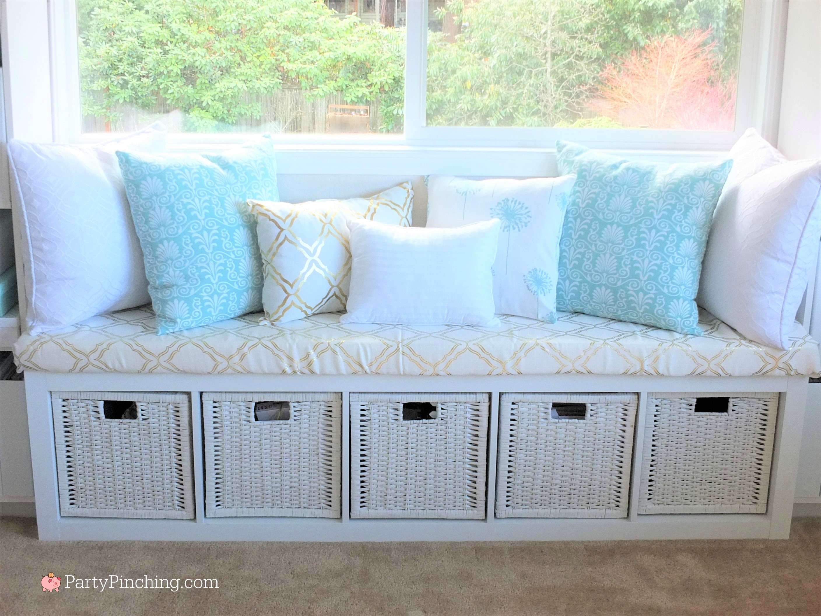 Tiffany blue home office, pretty home office makeover, home office remodel, budget friendly home office, Tiffany blue gold white office, pretty craft room remodel makeover, Tiffany blue home office makeover, Tiffany blue office interior design, pretty home office on a budget, beautiful home office, office with Tiffany blue gold and white accents, white office chair, feminine home office, home office with window seat, DIY easy window seat