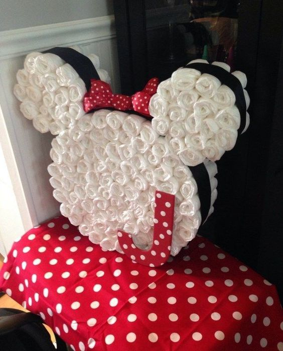 minnie mouse diaper cake, baby shower ideas, cute baby shower, best baby shower ideas, baby shower cake, fun games for baby shower, baby shower food