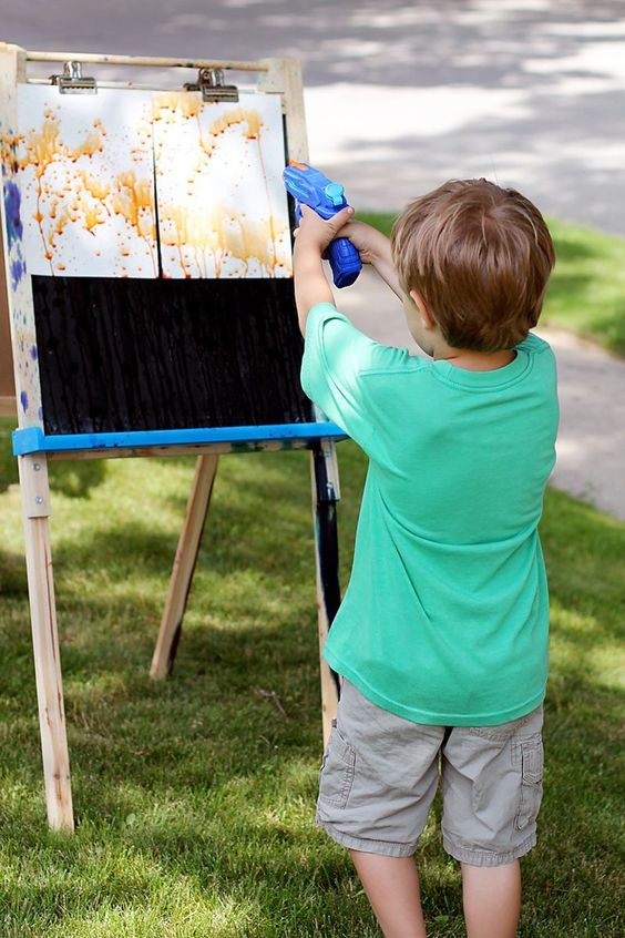 water squirt gun painting, awesome ideas to keep kids busy summer, backyard party ideas , Best summer backyard games and outdoor activities for kids, diy summer projects for kids,fun ideas for kids summer , fun summer ideas for children, lots of summer activities for kids, outdoor games for summer