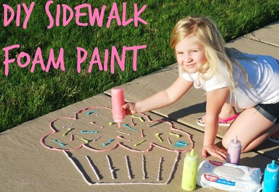awesome ideas to keep kids busy summer, backyard party ideas , Best summer backyard games and outdoor activities for kids, diy summer projects for kids,fun ideas for kids summer , fun summer ideas for children, lots of summer activities for kids, outdoor games for summer, diy sidewalk foam paint, puffy outdoor paint
