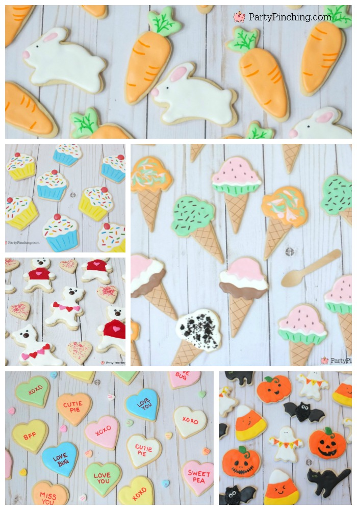 cute sugar cookies, decorated sugar cookies, party pinching sugar cookies, best sugar cookie recipe ever