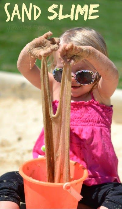 sand slime recipe, awesome ideas to keep kids busy summer, backyard party ideas , Best summer backyard games and outdoor activities for kids, diy summer projects for kids,fun ideas for kids summer , fun summer ideas for children, lots of summer activities for kids, outdoor games for summer,