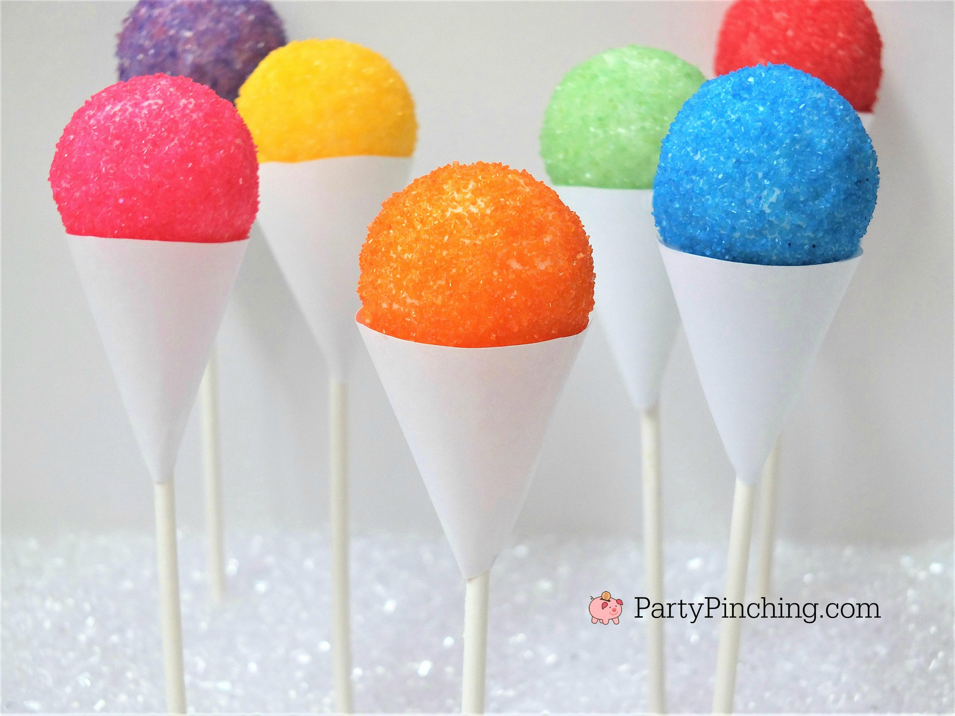 snow cone cake pops, cute summer desserts, sno cone fair cupcake cake pops, easy snow cone treat, summer kid friendly treat, summer theme party ideas, no bake cake pops, partypinching.com