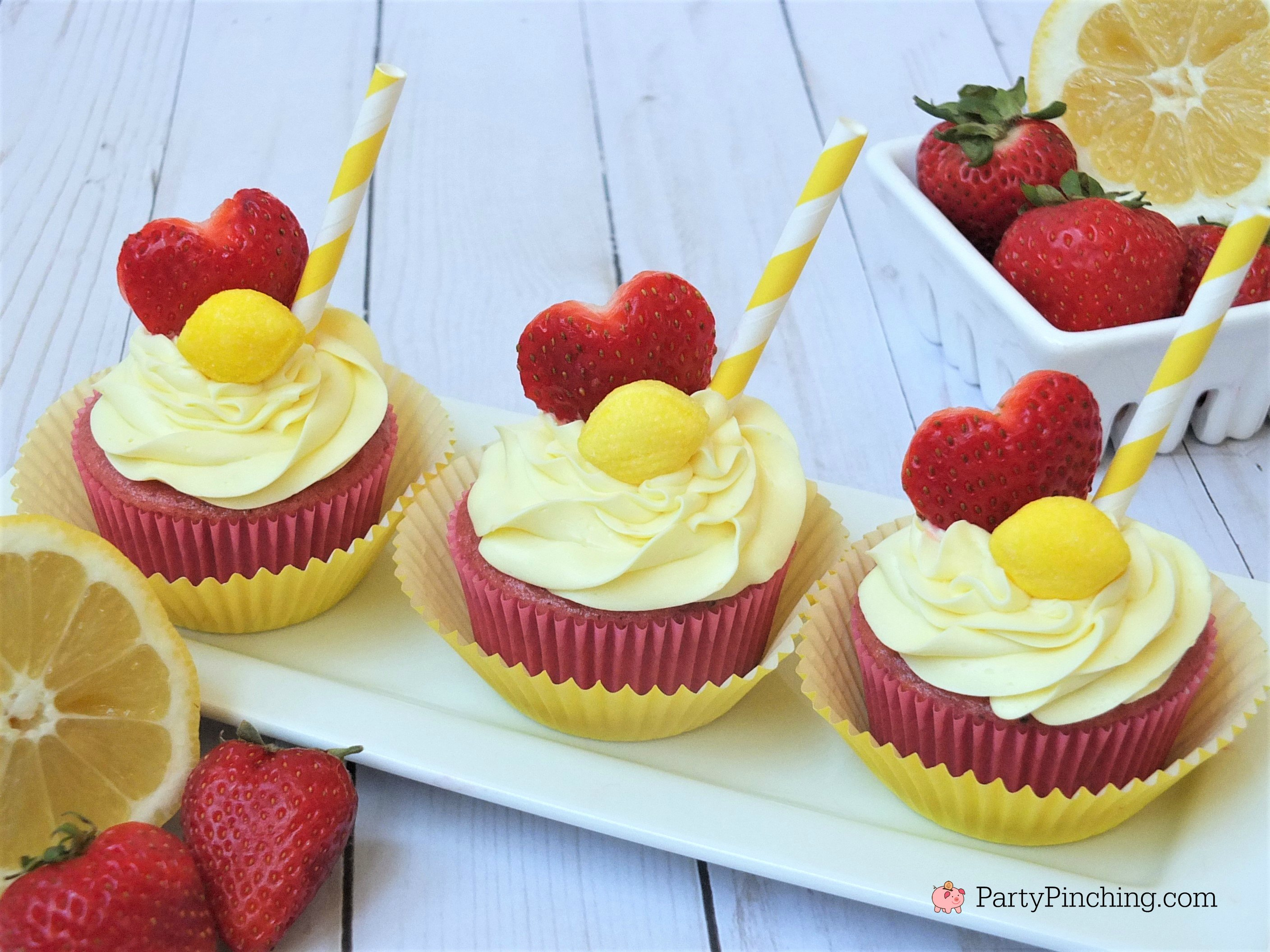 strawberry lemonade cupcakes, box mix fresh fruit cupcakes, refreshing summer cupcakes, cute cupcakes for kids, fun and easy cupcakes, strawberry cupcakes with frozen puree, lemon can frosting with zest and juice, easy cupcake recipe