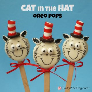 Dr. Seuss Cat in the Hat cookie pops, cat cookies, cute food, fun food for kids, Dr. Seuss birthday party ideas, Dr. Seuss books, Cat in the Hat book by Dr. Seuss