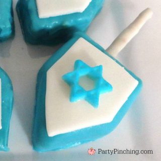 Hanukkah party ideas, Hanukkah sweet treats, Hanukkah rice krispie treat dreidel, easy Jewish desserts