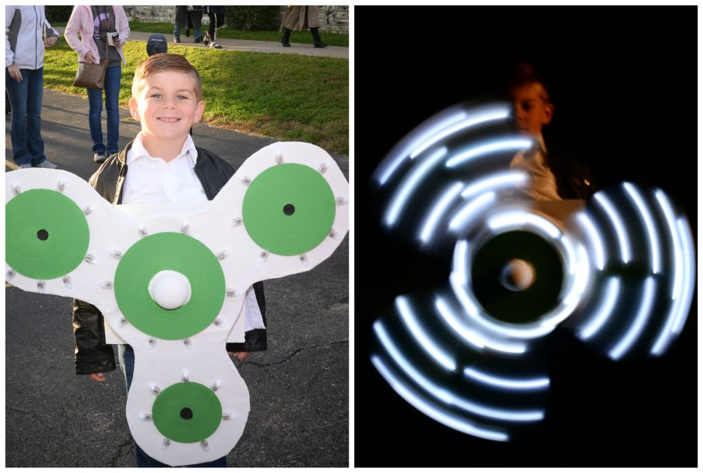 fidget spinner costume, glow in the dark DIY fidget spinner kids' costume,  DIY cute easy baby costume for kids, cutest easy DIY costumes for children, kids, babies