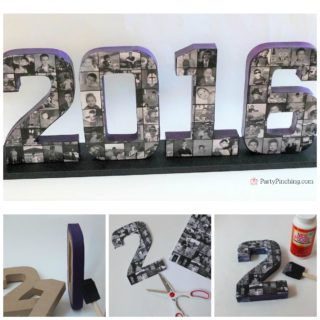 graduation centerpiece collage, grad ideas, graduation open house ideas, best grad paper mache collage diy letters numbers