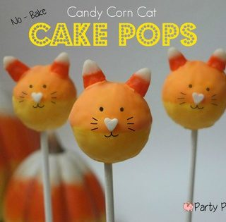 Candy Corn Cat Cake Pops