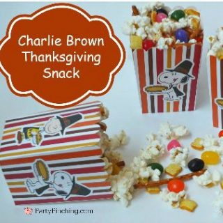 Charlie Brown Thanksgiving snack, Charlie Brown Thanksgiving pretzels popcorn toast treat, fun food for kids, easy Thanksgiving dinner ideas, Charlie Brown, Snoopy, Peanuts gang